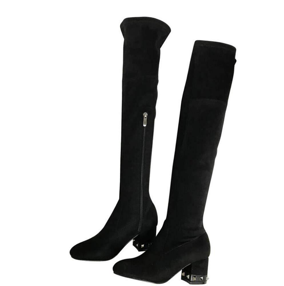 Mamrar Knie High Stiefel Knight Stiefel Frauenrunde Zehe 5Cm Chunkly Heel Rivets Dress Stiefel Motorradstiefel EU-Größe 34-40