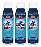 3-Pack: SPF 50 6 oz Coral Isles REEF FRIENDLY & Safe Sunscreen Mist Spray - Broad Spectrum, NO Oxybenzone, NO Octinoxate, NO Parabens, Water Resistant 80 min, Non-Aerosol