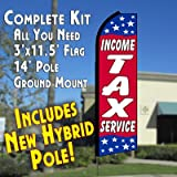 INCOME TAX SERVICE (Red/Stars) Flutter Feather Banner Flag Kit (Flag, Pole, & Ground Mt)