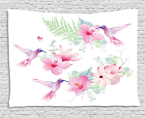 Hummingbirds Decorations Tapestry by Ambesonne, Tropical Flowers With Flying Hummingbirds Wild Nature Bare Branches Blooms, Bedroom Wall Hanging for Living Room Dorm, 80 W X 60 L Inch