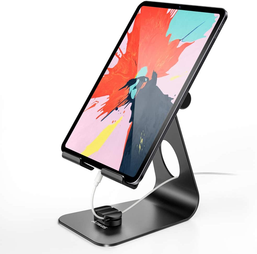 Tablet Stand for iPad, Anwas Adjustable Tablet Holder Cell Phone Stand Dock Cradle for Desk with Non-Slip Rubber Mat Fit for iPad Air Pro Mini 2 3 4 iPhone 12 Pro Max 11 Pro XS Max X, Desk Accessories