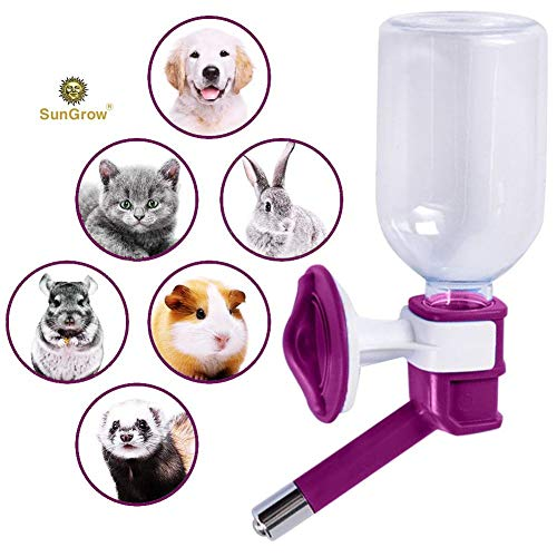 No Drip Pet Water Dispenser Bottle - Leak Proof, Rust Proof, BPA Free, with Stainless Steel Pipe - Keep Puppies, Cats, Bunnies and Other Small Animals hydrated ()