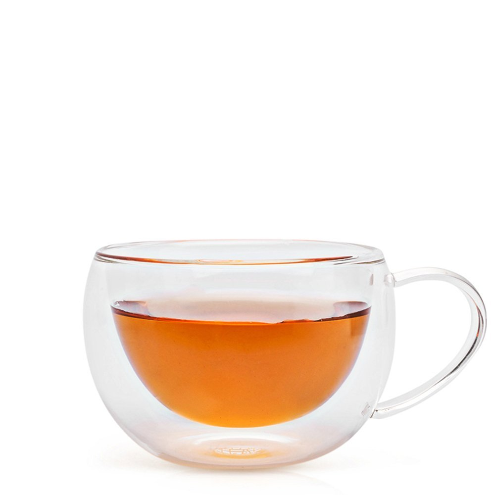 Teabox Duple Glass Teacup | Doublewalled Borosilicate Glass Insulated Tea Cup | Transparent, 6.8 fl oz BCUP2