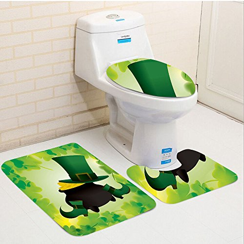 Leprechaun Tiny Top Hat (Keshia Dwete three-piece toilet seat pad customSt. Patricks Day Leprechaun Hat and Shoes Costume with Pot of Gold with Shamrock Leaves Forest Green)