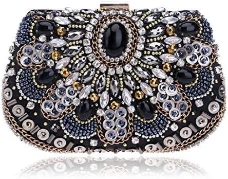 ウィメンズビーズトート、クロスボディバッグ、クラッチバッグ、財布、パーティーイブニングバッグ、(カラー:ブラック) 美しいファッション