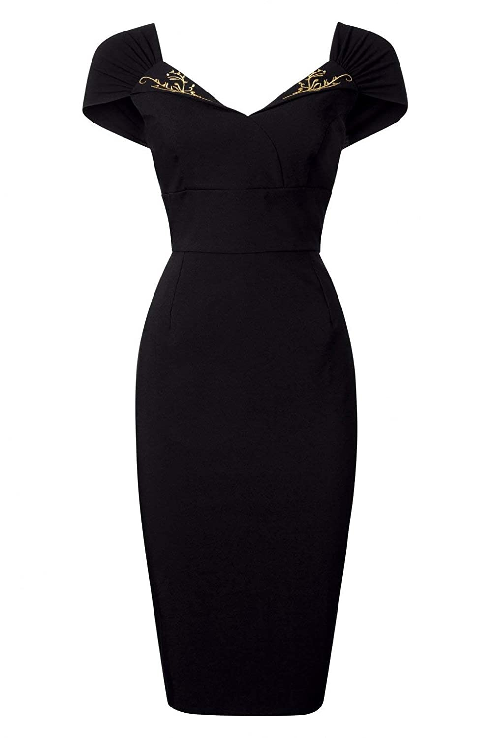 3198a168d92a3 50s Ruby Pencil Dress in Black - Damen 50er Jahre Vintage Retro Kleid -  Schwarz