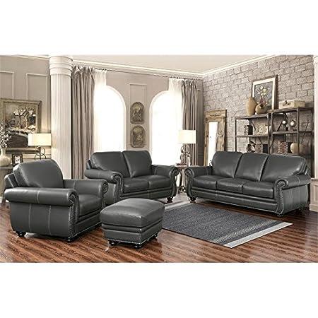 Pleasing Amazon Com Abbyson Austin 4 Piece Leather Sofa Set In Gray Machost Co Dining Chair Design Ideas Machostcouk