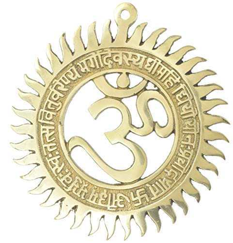 (Hinduism Symbol Wall Decal OM Religious Home Décor Brass 8 inch,600 Gram)