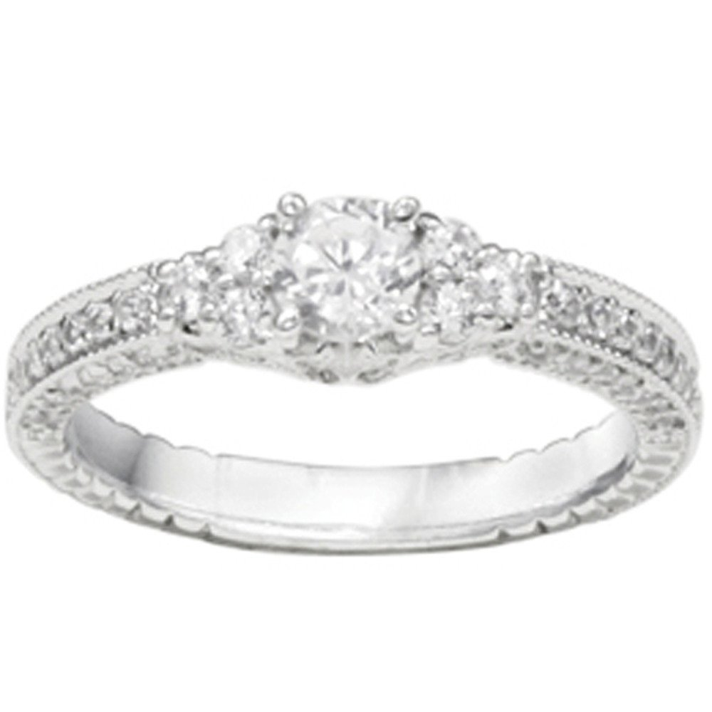 1.22CT Diamonds G,I2 Beautiful Promise Ring Silver (1 1/4CT)(Size 3 to 15, in 1/4 Sizes)