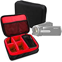 Protective EVA Portable Case (in Red) for Sony DCR-SX22E / FDR-AX33 4K, FDR-AX53 4K, FDR-AXP33, HDR-MV1, HDR PJ530, HDR-AS50B, HDR-CX240, HDR-CX240E - by DURAGADGET