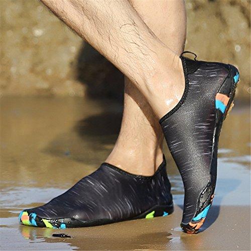 Kitleler Wasser Schuhe für Männer Frauen Barfuß Quick-Dry Aqua mit Drainage Loch für Strand Yoga Schwimmen Schwarz