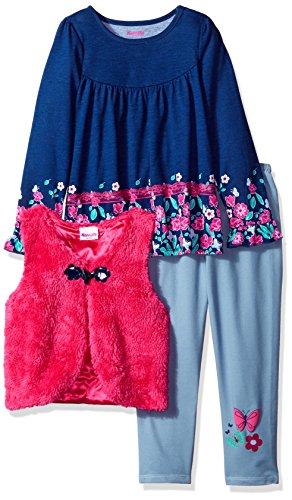 Nannette Girls' Little 3 Piece Long Sleeve Ruffle Top and Sherpa Vest Legging Set, Blue, 6 (Nannette 3 Piece)