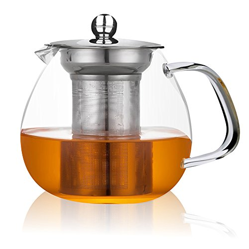 Glass Teapot with Stainless Steel Infuser and Lid,26oz/750ml Borosilicate Ultralight High Heat Resistance Teapots for Flower Tea and Loose Leaf Tea Pot