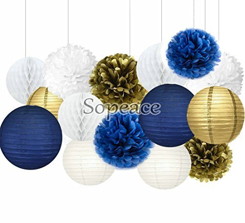 Sopeace White Navy Blue Gold 8inch 10inch Tissue Paper Pom Pom Paper Flowers Paper Honeycomb Paper Lanterns for Navy Blue Themed Party,Party Decoration Bridal Shower Decor Baby Shower (Navy Decorations)