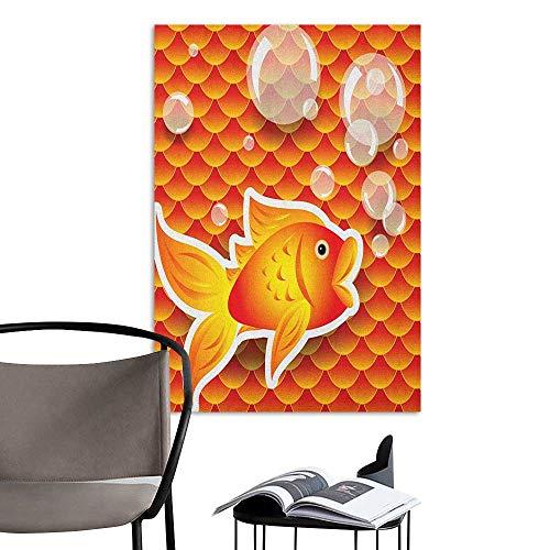 Self Adhesive Wallpaper for Home Bedroom Decor Orange Small Goldfish Talking with Bubbles Random Scallop Patterns Nautical Sea Print Burnt Orange Fashion Stickers for Wall W32 x -