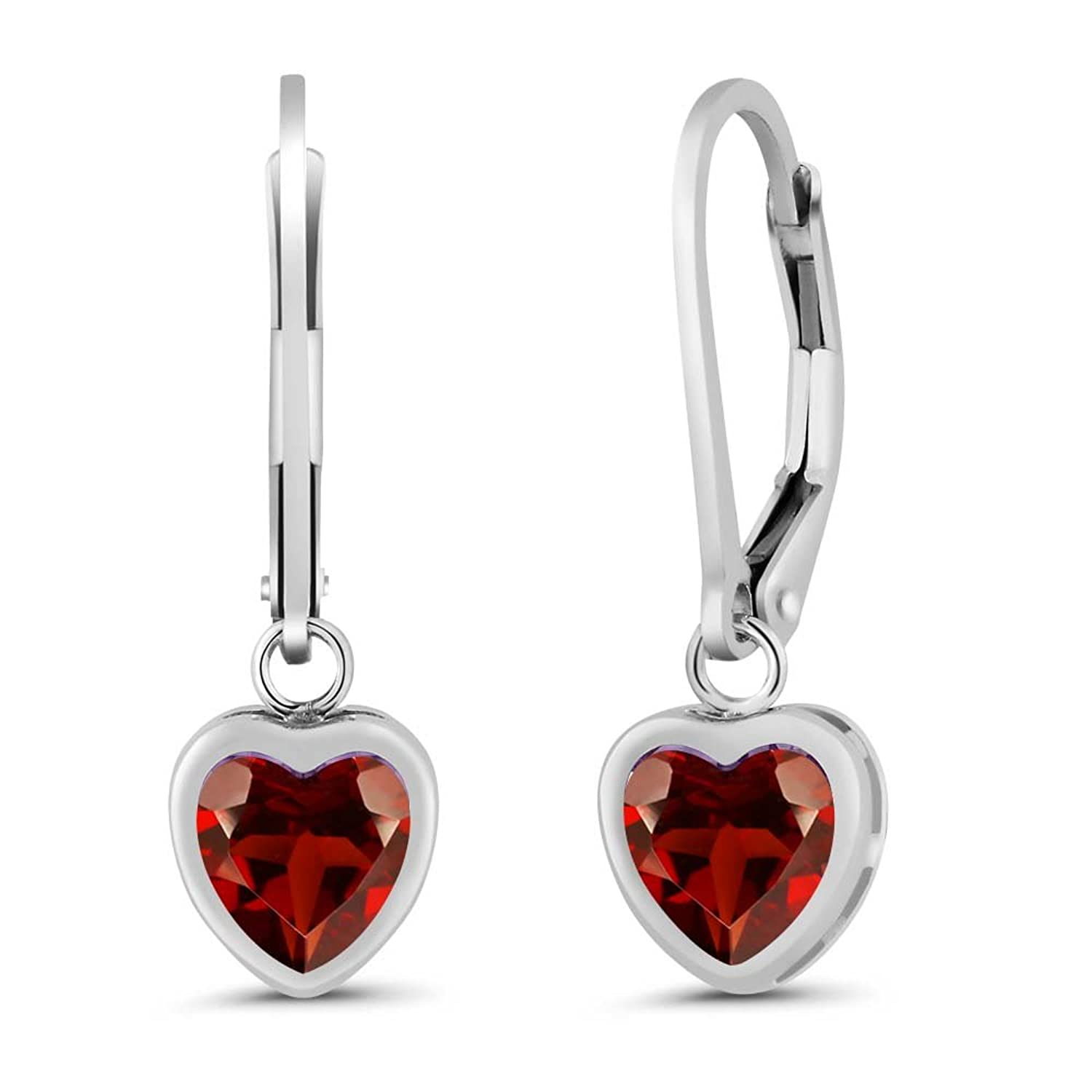 1.80 Ct Heart Shape Red Garnet 925 Sterling Silver Earrings