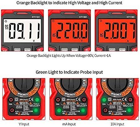 SP-COW Multímetro Digital profesional 6000 counts, Medir Corriente y Tensión de CA/CC, LIVE,NCV, Resistencia, Capacitancia, Frecuencia, Diodo, ...