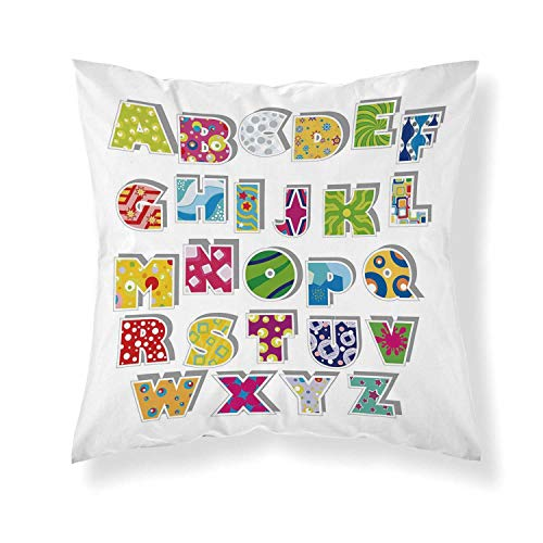 YOLIYANA Letters Comfortable Throw Pillow,Full Set of Alphabet with Various Designs Abstract Dots Squares Splashes Pattern Decorative for Home Office]()