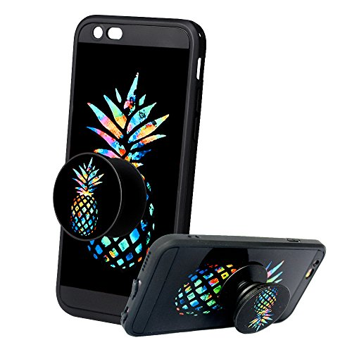 iPhone 6s plus Case, iPhone 6 plus Pineapple Case with Pop up Kickstand [Anti-Scratch] Fashion Soft Silicone Rotating Holder Grip Stand Black Cover Case for iPhone 6/6s plus 5.5 inch