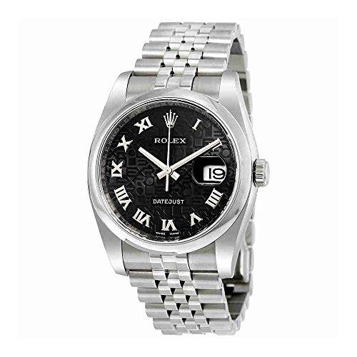 Rolex Datejust 36 Black Jubilee Dial Stainless Steel Rolex Jubilee Automatic Mens Watch 116200BKJRJ