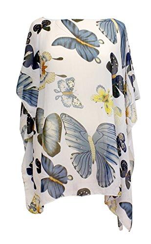 LL Ladies Lavender Butterfly Semi Sheer Chiffon Caftan Poncho Tunic CoverUp Top