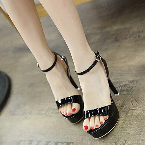 Sexy Toe 12Cm HXVU56546 Nouveau Fine Haut Rosée De Talon Black Sandales Et gxzw8qOx