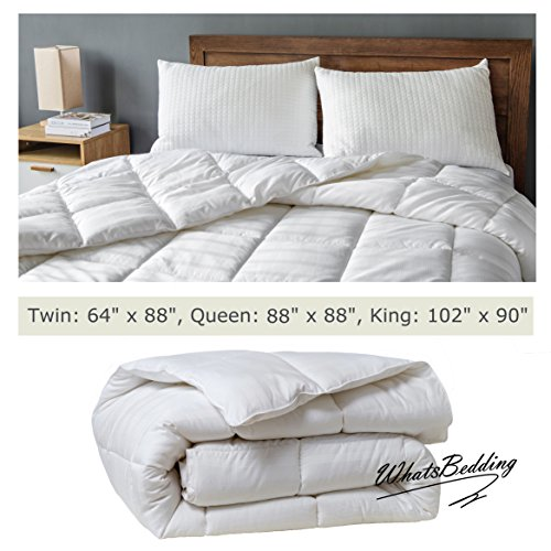 WhatsBedding White Cotton Comforter Queen Size, Tencel Fabric Content for Cooling, Down Alternative Fill Quilted Duvet Insert, Fluffy, Warm, Soft & Hypoallergenic, Medium Weight for All Season
