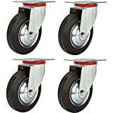Online Best Service 4 Pack 5'' Swivel Caster Wheels Rubber Base with Top Plate & Bearing Heavy Duty
