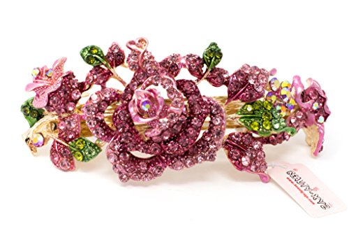 Crystal Gold Tone Metal - New pink color Rhinstones Crystal gold Tone Metal rose flower hair claws clips Barrette