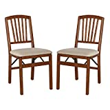 Classic Mission Style Design Wood Folding Chair in Warm in Cherry Finish, Feature Durable Steel Folding Mechanism (Set of 2)