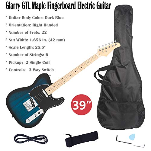 39 Inch Electric Guitar Kit Bundle – Guitar Beginner Electric Guitar Starter Kit With Bag Strap Paddle Rocker Cable Wrench Tool Acoustic Guitar Classical Guitar Right Hand Guitar