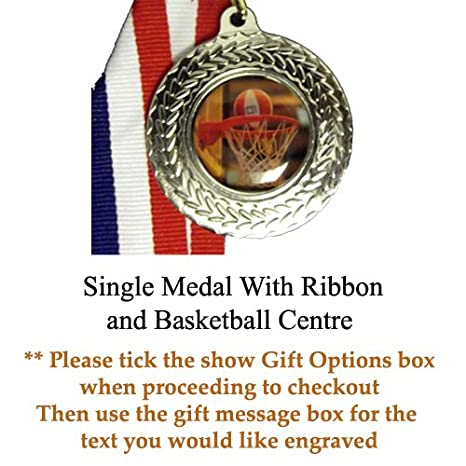 Baloncesto medalla de plata con cinta 1 medalla sólo: Amazon.es ...