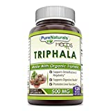 Pure Naturals Organic Triphala (3 Fruits)– 500 mg, Veggie Capsules - Raw, Vegan- Gluten-Free, Plant-Based Nutrition –Supports Cell Regeneration, Detoxification & Overall Health (120 Count)