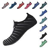 Heeta Water Sports Shoes for Women Men Quick Dry Aqua Socks Swim Barefoot Shoes for Beach Pool Surf Swim Yoga Black_B/XXL