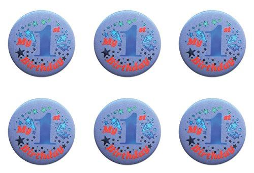 Beistle BN051B 6-Pack My 1st Birthday Satin Button, 2-Inch -