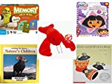 Children's Gift Bundle - Ages 3-5 [5 Piece] - Shrek Forever After Memory Game - Nickelodeon Dora the Explorer Star 5 Non-Slip Tub Treads - Ty Beanie Baby - Pinchers the Lobster - Getting to Know Nat