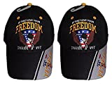 If You Love Your Freedom Thank A Vet Veteran Black Embroidered Ball Cap Hat (2 Hats)