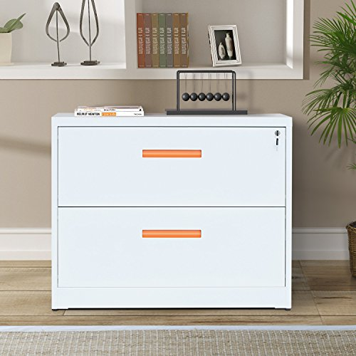 ModernLuxe Metal Lateral File Cabinet With Lock (White Orange, 2 Drawers: