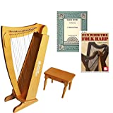 15 String Beginners Harp w/ bench + Early Music for the Harp Book Bundle