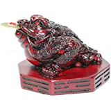 Fortune Coin Red Three Legged Money Toad/ Frog /Chan Chu on BaGua - Feng Shui Chinese Charm of Prosperity Decoration Gift US Seller (Idea for Office Desk, Computer, Book/TV Shelf, and Cashier Registration Area Display)