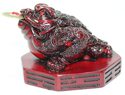 Fortune Coin Red Three Legged Money Toad/ Frog /Chan Chu on BaGua - Feng Shui Chinese Charm of Prosperity Decoration Gift US Seller (Idea for Office Desk, Computer, Book/TV Shelf, and Cashier Registration Area Display) ()
