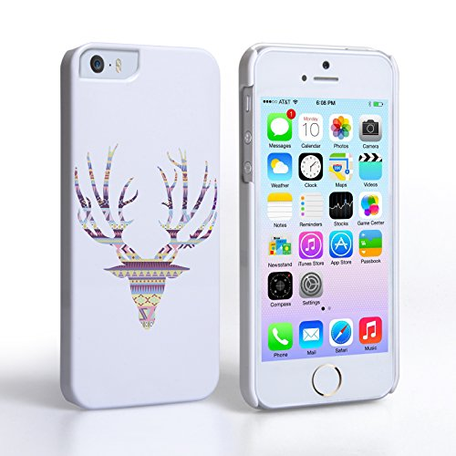 Caseflex iPhone 5 / 5S Case Purple Aztec Stag Hard Cover