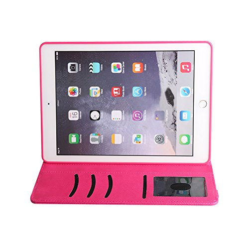 BoriYuan iPad 4&3&2 360 Degree Rotating Stand PU Leather Case Protective Flip Folio Detachable Soft Rubber Cover For Apple iPad 4/ iPad 3/ iPad 2 with Card Slot+Screen Protector+Stylus (Rose Red) Photo #6