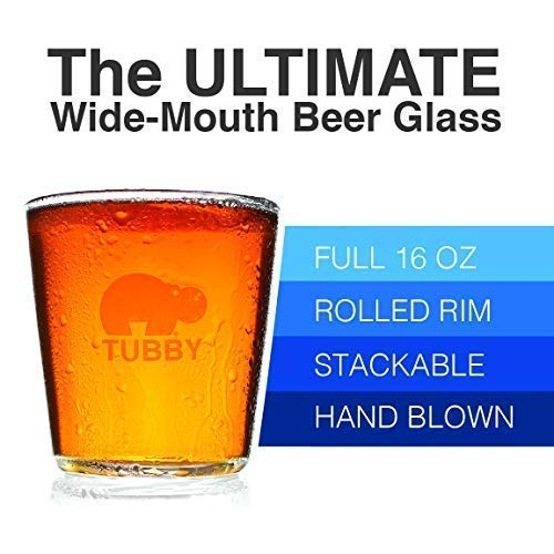 The Tubby - The Ultimate Beer Pint Glass 16 Ounce (Set of Two)
