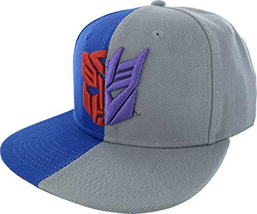 Transformers Autobot Decepticon Split Snapback Hat, One Size Fits Most