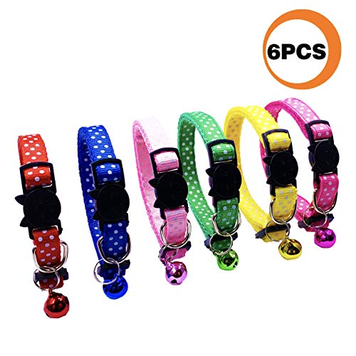 PACCOMFET 6 Pcs Breakaway Cat Collars Adjustable Colorful Nylon Safety Pet Collar Printed Wave Point with Bells