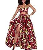 Women's African Print Dashiki Strapless Two Piece Set Hem Split Long Maxi Dress