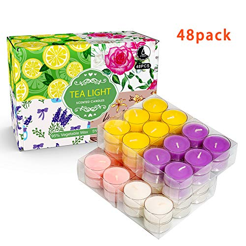 (YMING Highly Scented Soy Tealight Candle Gift Set for Yoga, Meditation, Relaxation (Rose, Lavender, Vanilla, Lemon) - 48 Pack)