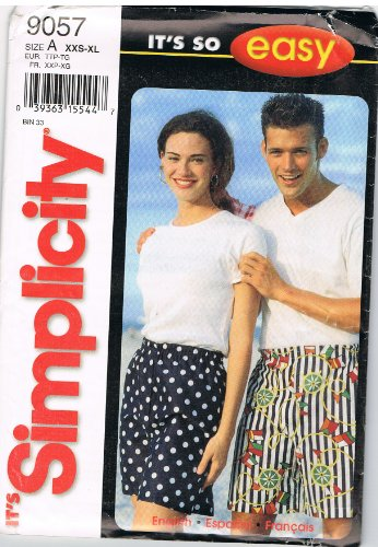 Simplicity Mens Womens Pattern - Simplicity Pattern 9057 Misses', Men's, Teen-Boys' and Girls' Shorts, Size A (XXS-XL)