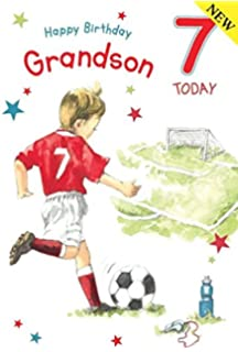 Footballer Grandson Age 7 Large Luxury 7th Birthday Card